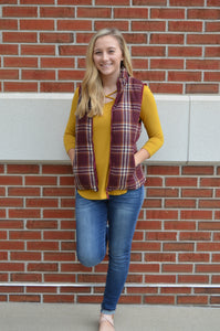 Perfectly Plaid Zip Up Puffer Vest