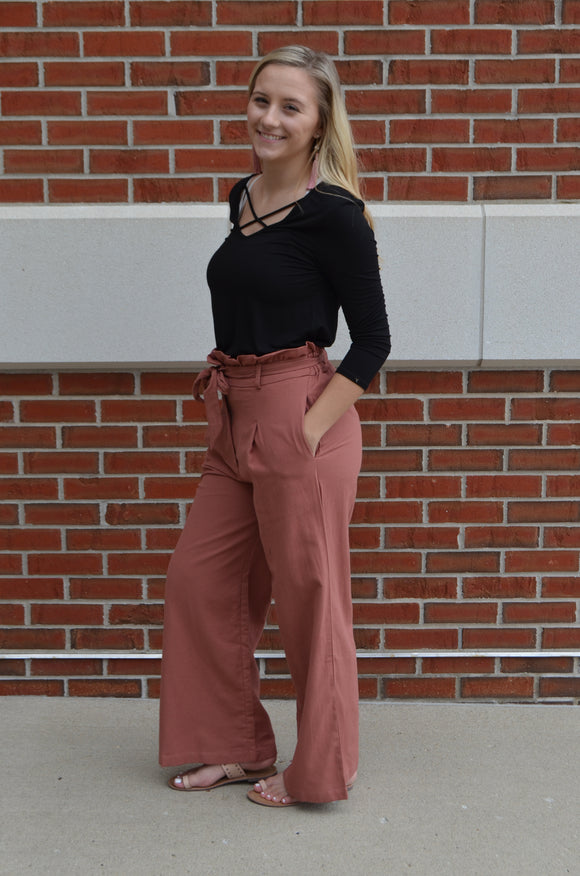 Girl Boss Waist Tie Paperbag Trousers
