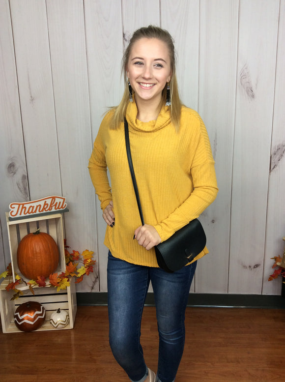 No Stopping Me Cowl Neck Top - Mustard