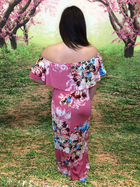 Off The Shoulder Floral Print Maxi Dress