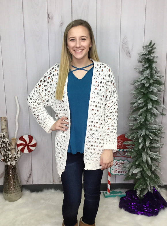 Holiday Festival Open Front Cardigan
