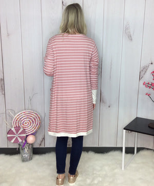 Tickled Pink Striped Long Cardigan - FINAL SALE CLEARANCE