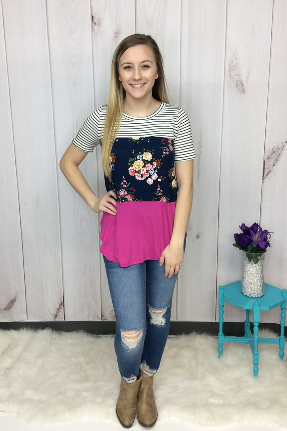 On Island Time Floral Color Block Top