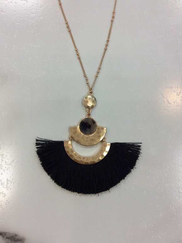 Acetate with Tassel Pendant Necklace