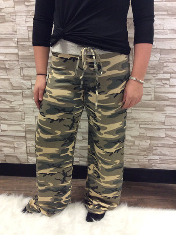Camouflage Print French Terry Wide Leg Pants