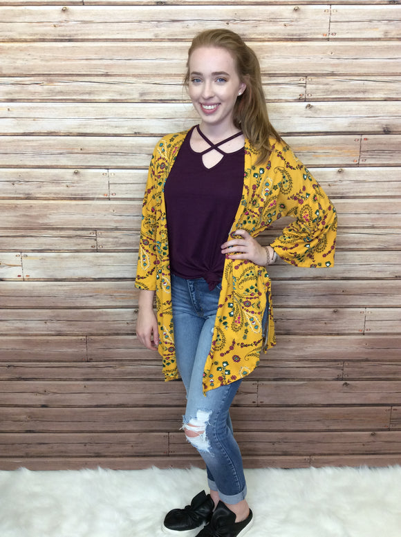 Paisley Floral Print 3/4 Sleeve Open Cardigan - FINAL SALE CLEARANCE