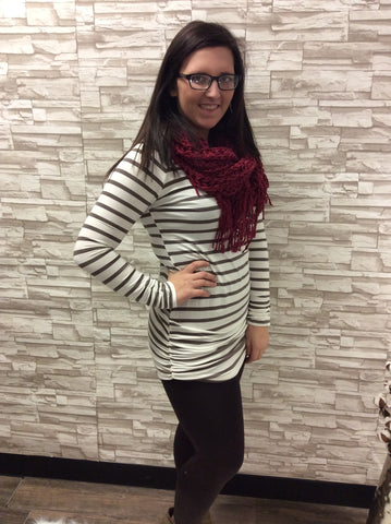 Striped Round Neck Tunic with Side Ruching Details