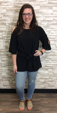 Black Split Bell Sleeve Keyhole Tunic With Knot Detail