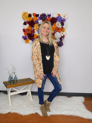 Life Of The Party Multicolor Knit Open Front Cardigan Sweater
