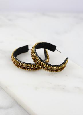 Beaded Bling Hoop Earrings