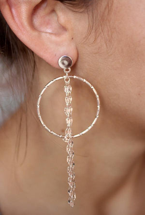 Hoop and Chain Fringe Earrings