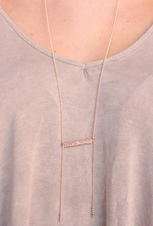 Long Necklace With Bling Bar - Rose Gold