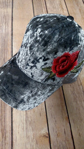 Velvet Cap with Embroidered Flower Side