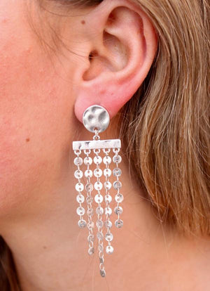Hammered Metal Earrings With Metal Disc Fringe