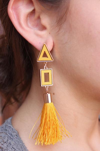Wood Triangle Earrings With Tassel