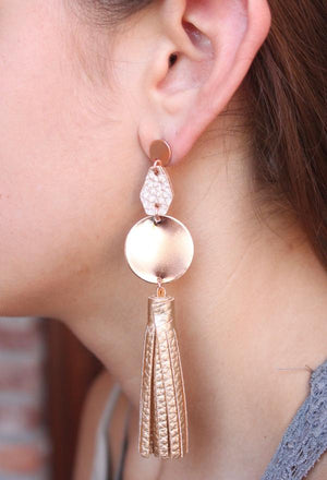 Round Metal Drop Earrings With Leather Tassel