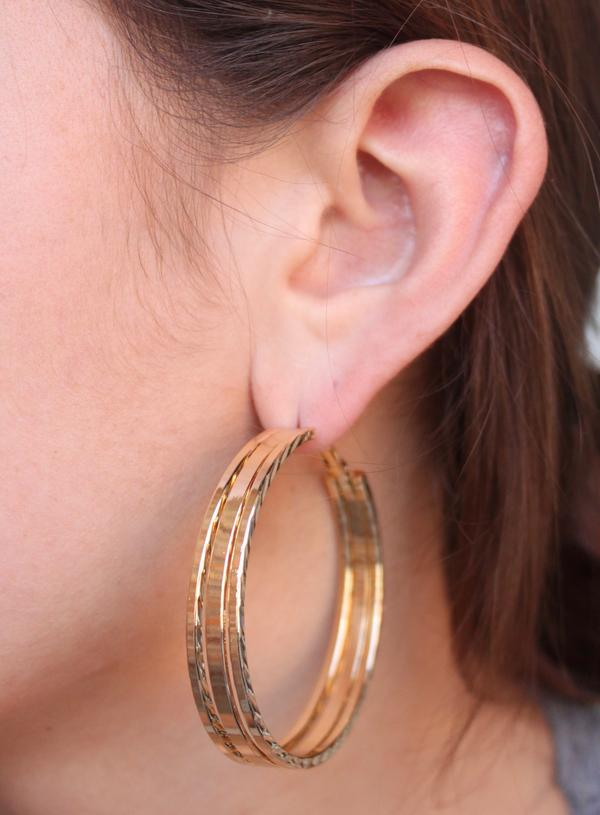Double Split Gold Hoop Earrings