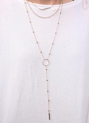 Triple Layer Long Gold Necklace