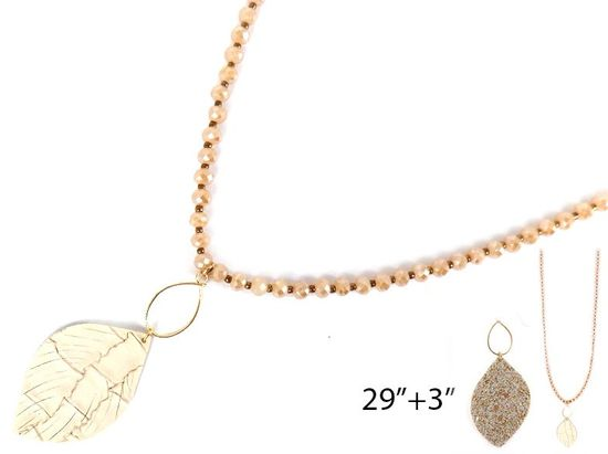 Beaded Necklace With Metallic Leaf Detail