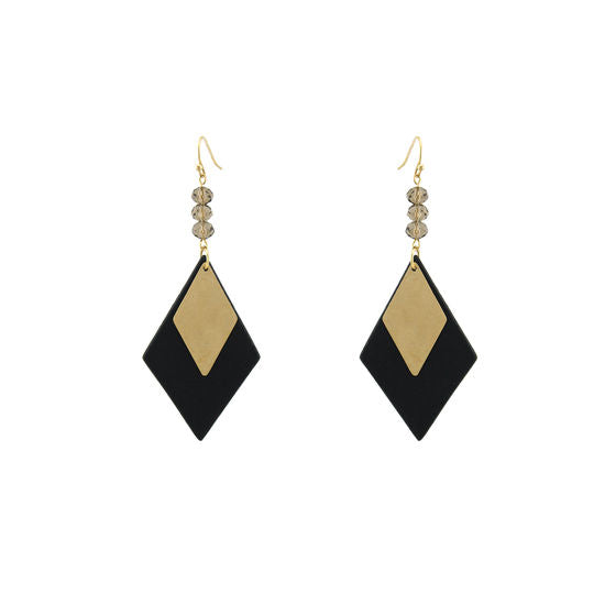 Diamond Shaped Leather Earrings With Metal Diamond Accent