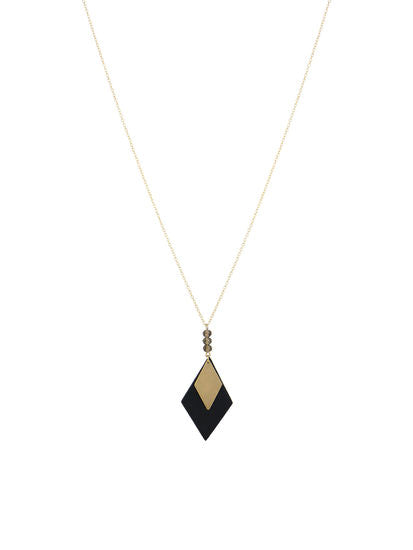 Diamond Shaped Leather Necklace With Metal Detail