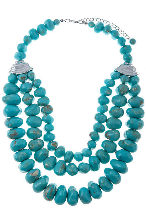 Large Faux Stone Beaded Necklace
