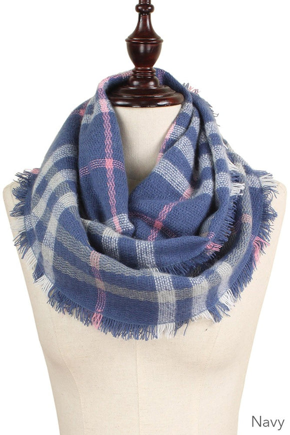 Small Cozy Plaid Infinity Scarf