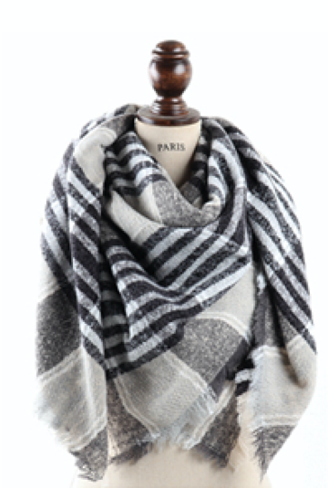 Big Gray Plaid Blanket Scarf