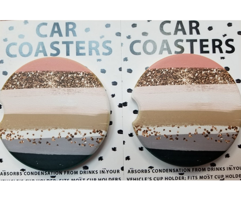 Fall Feels Car Coasters - Charcoal/Peach