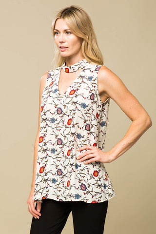 Sleeveless Floral Top With Choker Cutout Detail