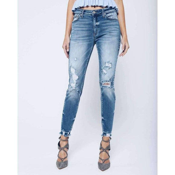 Kan Can Light Wash Dark Fade Distressed Jeans