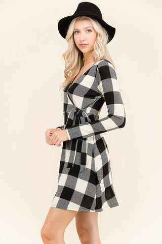 Plaid Knit Wrap Dress