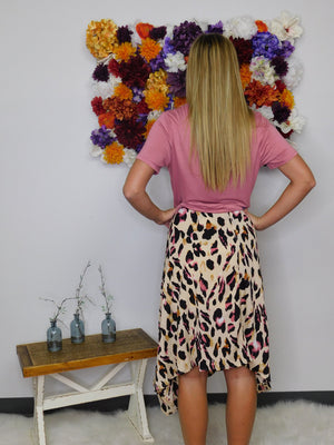 To The Point High Waist Asymmetrical Printed Midi Skirt