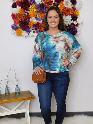 Colors Of Fall Tie Dye Long Sleeve V-Neck Top