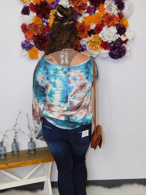 Colors Of Fall Tie Dye Long Sleeve V-Neck Top - Final Sale