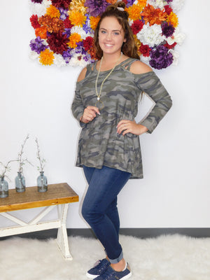 Come On Over Camo Criss Cross Cold Shoulder Top