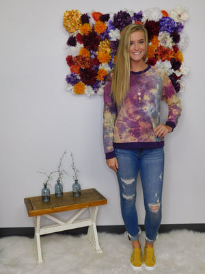 All Is Right Tie Dye Print Long Sleeve Top