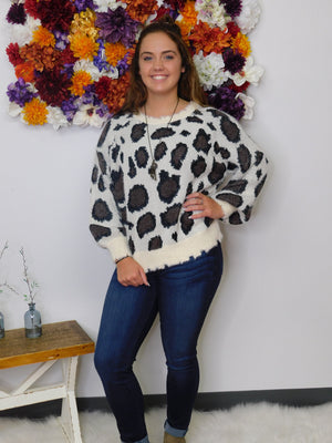 Fall Festival Fun Animal Print Fuzzy Soft Knit Sweater