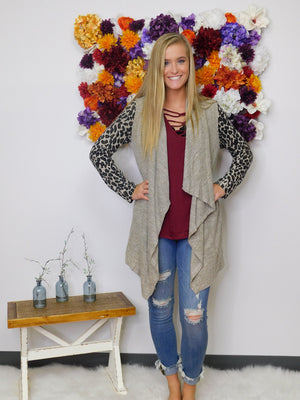 Evening In The City Animal Print Sleeve Long Cardigan