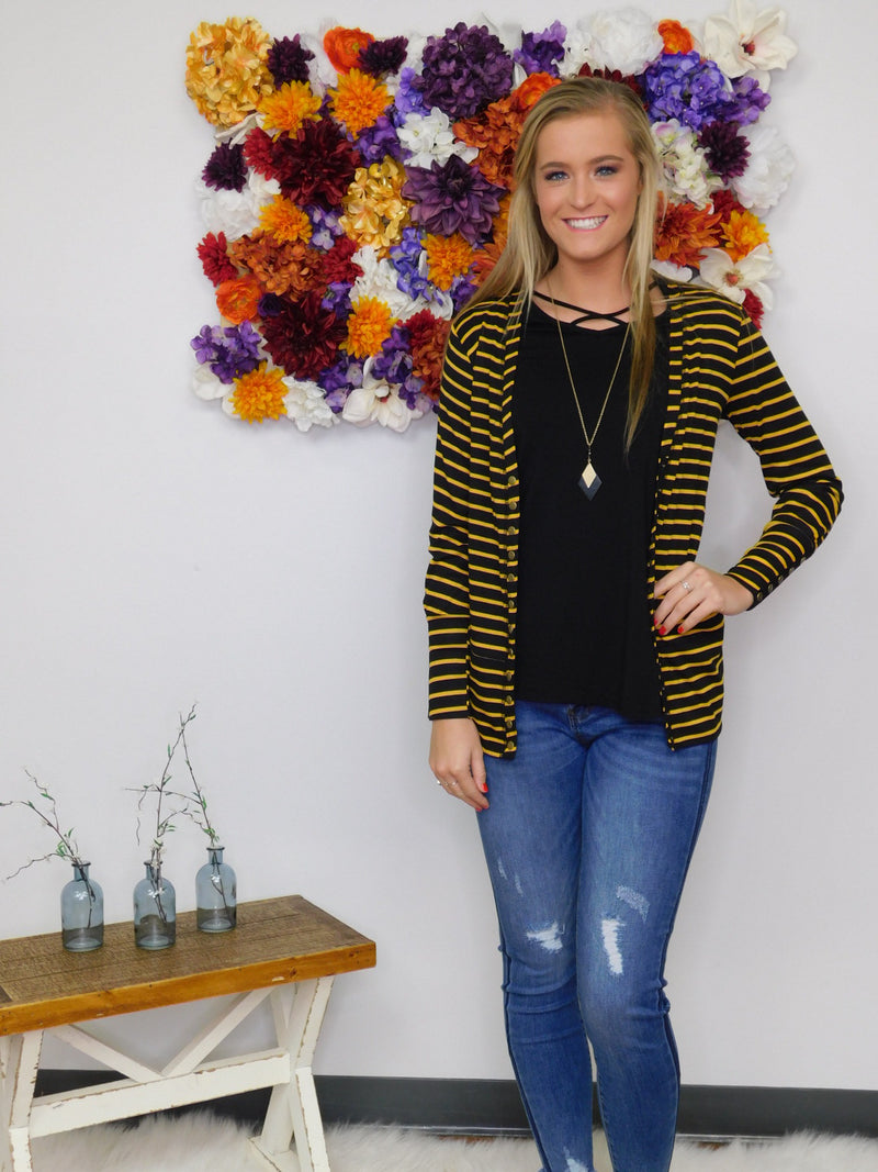 Gotta Have It Snap Front Cardigan - Black/Gold Stripe