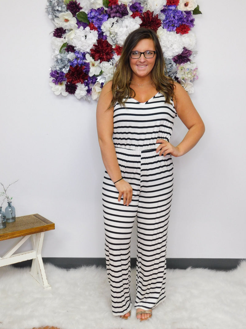 It's Five O'Clock Somewhere Striped Jumpsuit