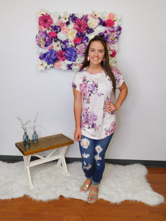 One Day At A Time Floral Round Neck Top