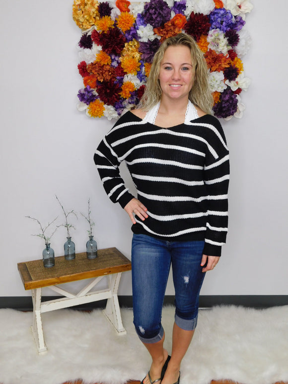 Wild Child Striped Twisted Open Back Sweater