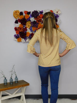 My Kind Of Love Striped 3/4 Ruffle Sleeve Top