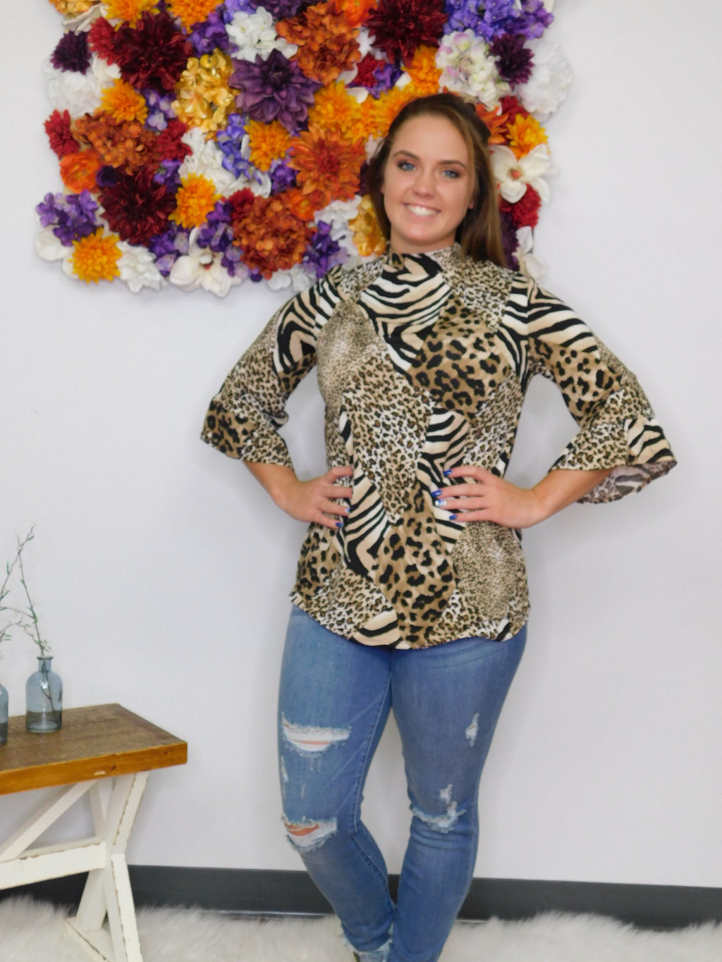 Lost In Paradise Animal Print Mock Neck Top