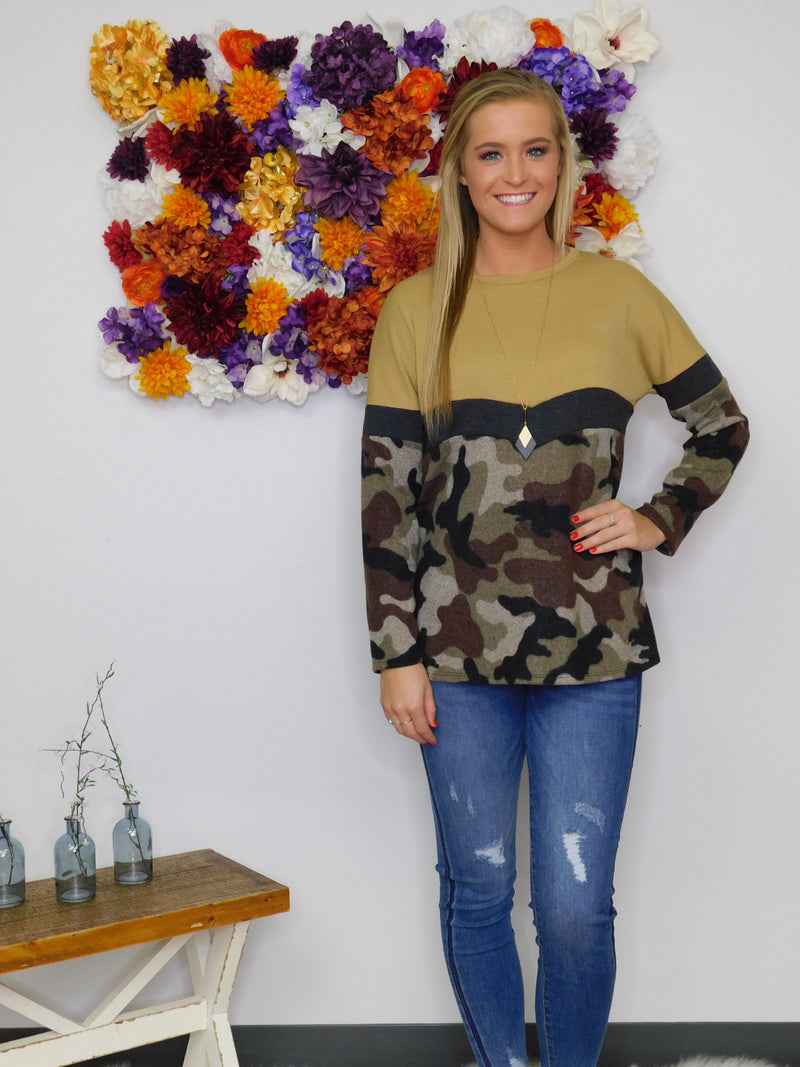 Cozy In Camo Print Brushed Hacci Long Sleeve Top