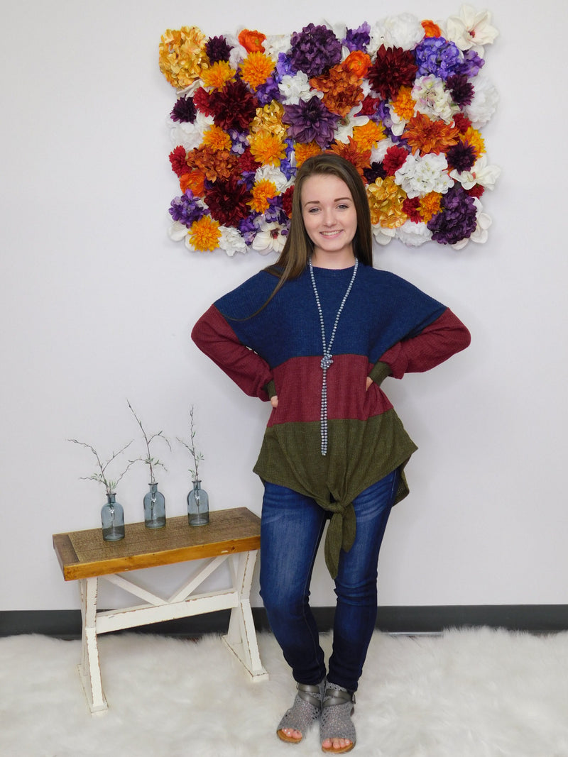 Forever Fall Color Block Long Sleeve Top