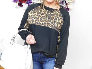Laid Back Style Leopard French Terry Side 1/4 Zip Pullover