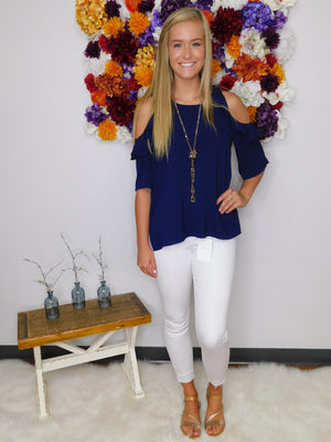 Staying Neutral Ruffle Cold Shoulder Top