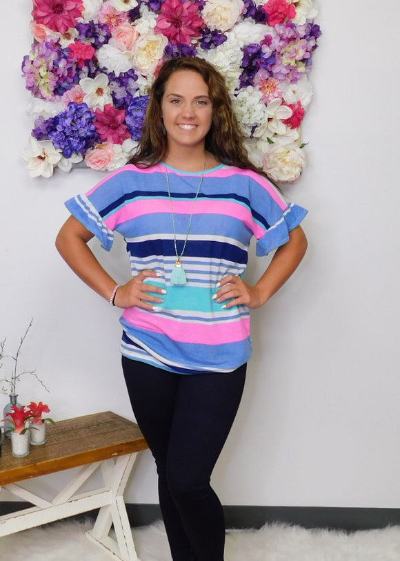 Look On The Bright Side Neon Stripe Ruffle Sleeve Top